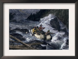 Fur-Traders' Canoes Imperiled by Rapids on the Red River of the North Print