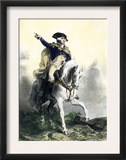 General George Washington in Battle on Horseback, Revolutionary War Prints