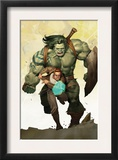 Incredible Hulk 601 Cover: Banner, Bruce and Skaar Stretching Posters by Ariel Olivetti