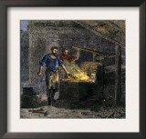 Blacksmith and His Assistant at a Forge Prints