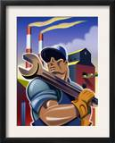 Man Holding Wrench in Front of Factory, Labor Day Art
