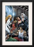 Heroes For Hire 7 Group: Black Cat, Knight, Misty, Tarantula, Shang-Chi, Wing and Colleen Fighting Poster by Al Rio