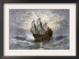 The Mayflower Bringing the First Colonists to Massachusetts Prints