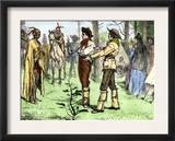 Fur Traders and Native Americans Conversing in Pantomine Poster