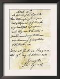 Capitulation Document from Lord Cornwallis to General Washington at Yorktown, c.1781 Print