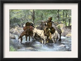 White Trapper Crossing a Mountain Stream Poster