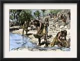 Caribbean Natives Washing Gold for the Spanish Conquerors Art