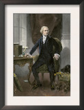 Alexander Hamilton at His Desk, Full Portrait, with Autograph Posters