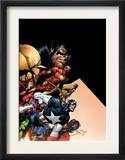 Avengers 500 Cover: Captain America, Iron Man, Vision, Scarlet Witch, Giant Man and Avengers Print by David Finch