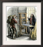 Benjamin Franklin at His Printing Press, Philadelphia Posters