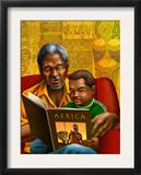 Man and Boy Reading Book About Africa Prints