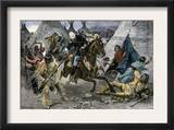 U.S. Cavalry Attacking a Sioux Indian Village, c.1800 Posters