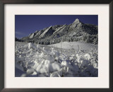 Winterscene of the Flatirons in Boulder, Colorado Print by Dörte Pietron