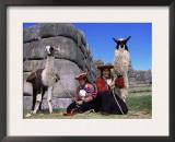 Local Indian Women with Domestic Llamas, Sacsayhumman, Cusco, Peru, South America Prints by Pete Oxford