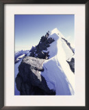 Climbing up a Snowy Ridge on Mt. Aspiring, New Zealand Print by Michael Brown