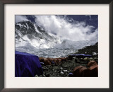 Advanced Base Camp with the North Col in the Background on the North Side of Everest Poster by Michael Brown