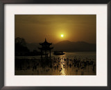 Westlake with Chineese Pavillon During Sunset, China Prints by Ryan Ross