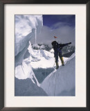 Climber Scaling the Khumbu Ice Fall, Nepal Prints by Michael Brown