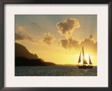Sailing Yacht at Sunset off Coast of Hanalai Bay, Kauai, Hawaii, USA Posters by Rolf Nussbaumer