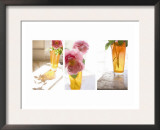 Rose in Amber Vase Triptych Prints