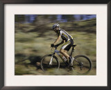 Mountain Biker Against a Blurry Background, Mt. Bike Prints by Michael Brown
