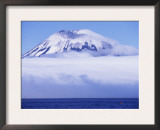Amukta Island with Volcano, with Northern Fulmars in Flight Below, Aleutian Islands, Alaska, USA Prints by Pete Oxford