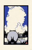 Ryo Takagi Hippo Mom and Child Masterprint