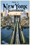 New York Illustrated Brooklyn Bridge Masterprint