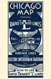 Chicago Map Rapid Transit Lines Masterprint