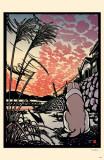 Ryo Takagi Sunset with Dog & Cat Masterprint