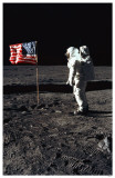 Man on the Moon with Flag Masterprint