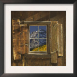 Reflection of Mountain and Forest in Window of Old Cabin, Uncompahgre National Forest, Colorado Posters by Jeff Vanuga