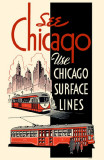 See Chicago Use Chicago Surface Lines Red Black Masterprint