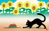 Ryo Takagi Cat and Hat Sunflowers Masterprint