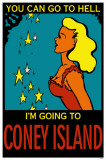 Girl with Stars Go To Coney Island Masterprint