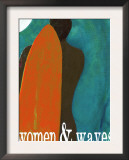 Sunset Beach Surfer - Women and Waves Posters by Lisa Weedn