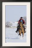 Cowboy Cantering Through Snow on Red Dun Quarter Horse Gelding, Berthoud, Colorado, USA Poster by Carol Walker