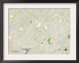 Political Map of Spartanburg, SC Prints