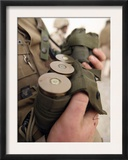 A Marine Cradles Handfuls of 40 mm Grenades During a Training Exercise Prints by  Stocktrek Images