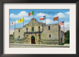 San Antonio, Texas - Exterior View of the Alamo under Six Different Flags, c.1940 Art