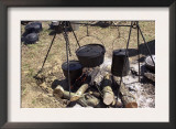 Campfire Cooking at a Confederate Encampment Living History Demonstration, Shiloh, Tennessee Prints