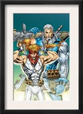 X-Force: Shatterstar 3 Cover: Shatterstar and Cable Jumping Prints by Marat Mychaels