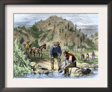 Gold Rush Prospectors Washing Sediments from a Stream to Find Nuggets in California Art