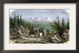 Group of Pioneer Horsemen Getting Their First Glimpse of the Sierra Nevada Range 1800 Prints