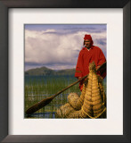 Traditiona Totora Reed Boat & Aymara, Lake Titicaca, Bolivia / Peru, South America Prints by Pete Oxford