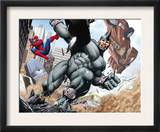 Spider-Man and Rhino Fighting - Battle Scene Posters