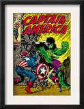 Marvel Comics Retro: Captain America Comic Book Cover 110, with the Hulk and Bucky (aged) Print