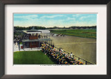 Saratoga Springs, New York - View of a Close Finish at the Horse Race Track, c.1914 Poster