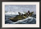 Lobstermen Hauling Traps Off the Coast of Maine, c.1800 Prints