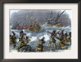 Native Americans on Block Island Attacked by Massachusetts Bay Colony Governor John Endicott Print
